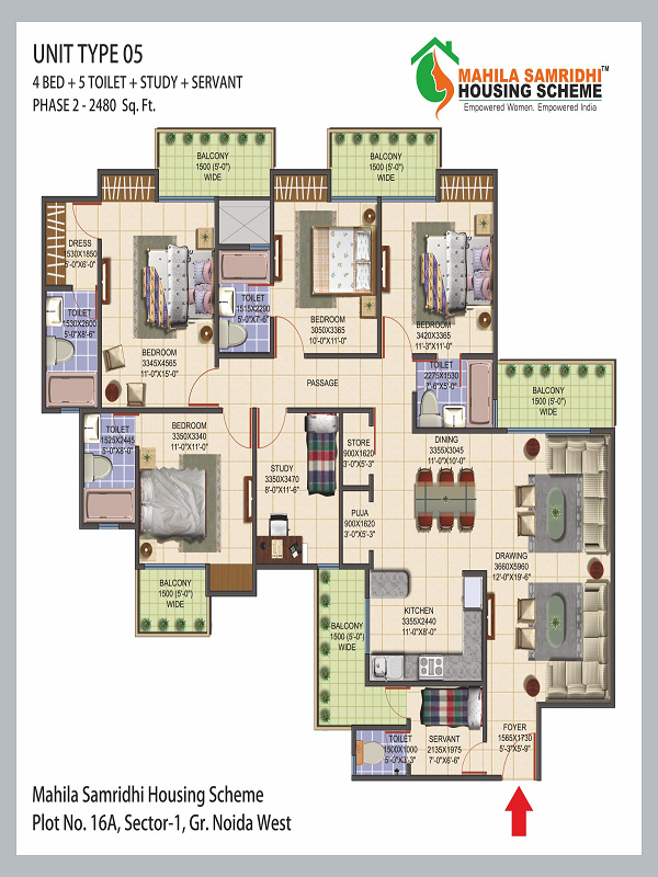 Mahila Samridhi Housing Floor Plan 4bhk 5toilet 2480 sq.ft