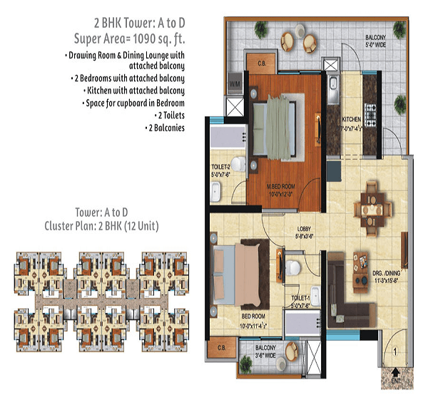 ace city floor plan 2bhk 2toilet 1090 sq.ft