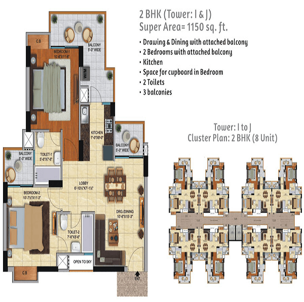 ace city floor plan 2bhk 2toilet 1150 sq.ft