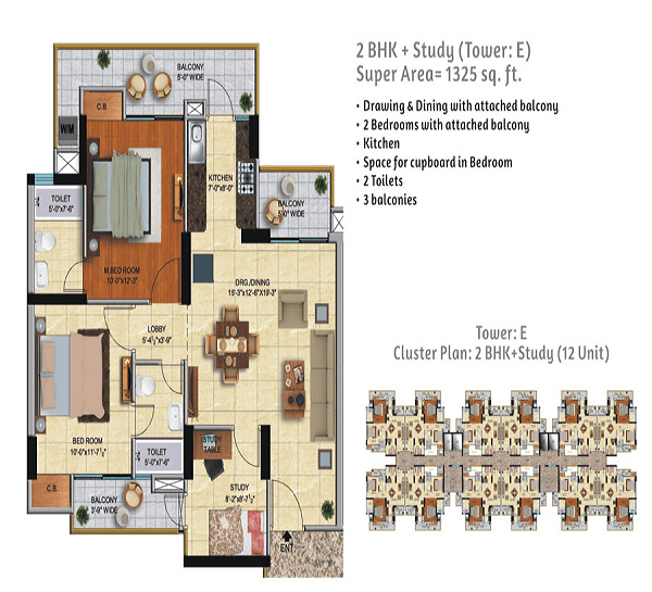 ace city floor plan 2bhk 2toilet 1325 sq.ft