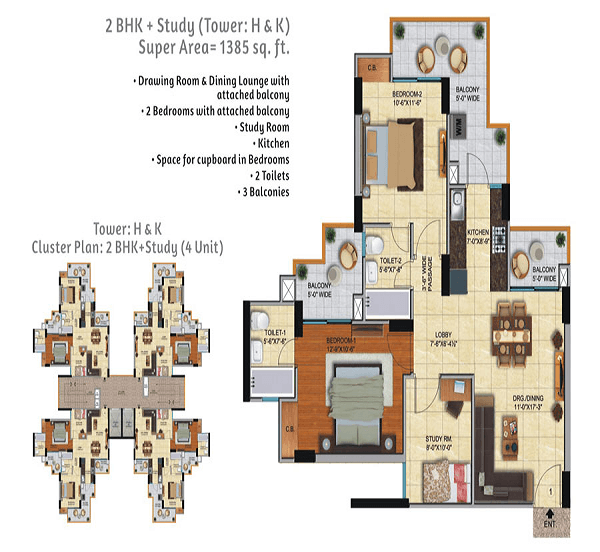 ace city floor plan 2bhk 2toilet 1385 sq.ft