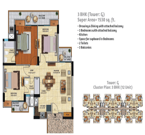 ace city floor plan 3bhk 2toilet 1530 sq.ft