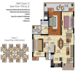ace city floor plan 3bhk 3toilet 1530 sq.ft