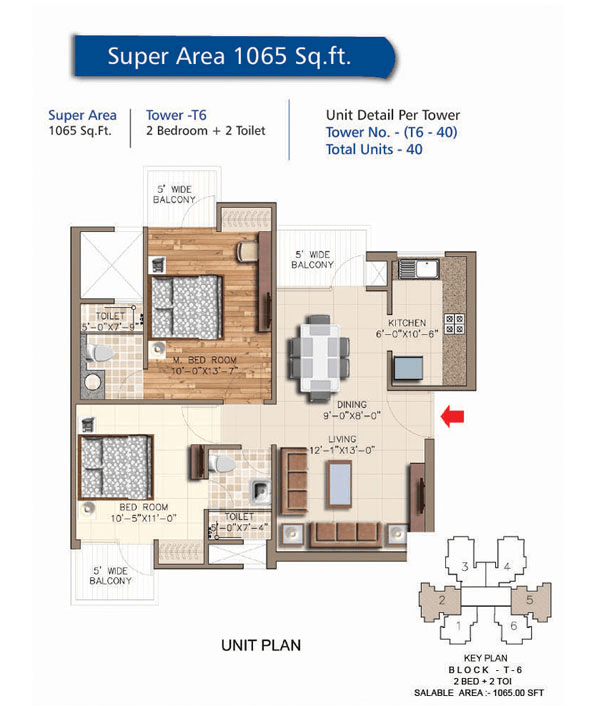 rudra aqua casa floor plan 2bhk 2toilet 1065 sq.ft