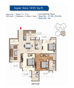 rudra aqua casa floor plan 3bhk 3toilet 1655 sq.ft
