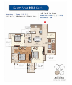 rudra aqua casa floor plan 3bhk 3toilet 1681 sq.ft