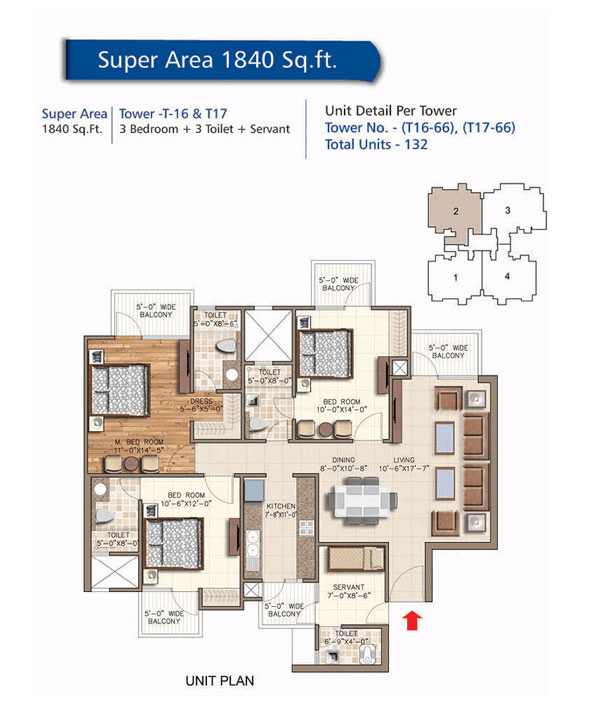 rudra aqua casa floor plan 3bhk 3toilet 1840 sq.ft