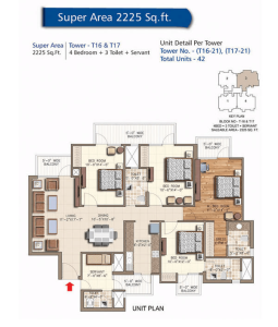 rudra aqua casa floor plan 4bhk 3toilet 2225 sq.ft
