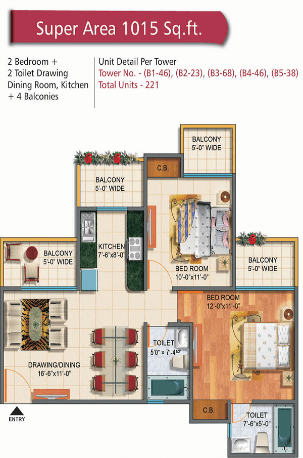 rudra palace heights floor plan 2bhk 2toilet 1015 sq.ft