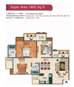 rudra palace heights floor plan 3bhk 2toilet 1405 sq.ft