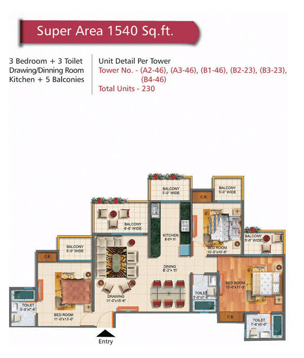rudra palace heights floor plan 3bhk 3toilet 1540 sq.ft