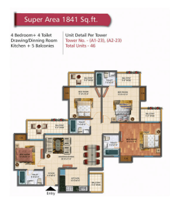 rudra palace heights floor plan 4bhk 4toilet 1841 sq.ft
