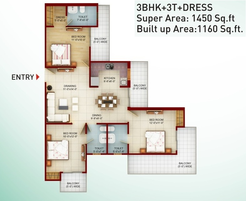 Saviour Greenarch Floor Plan 1450-sqft