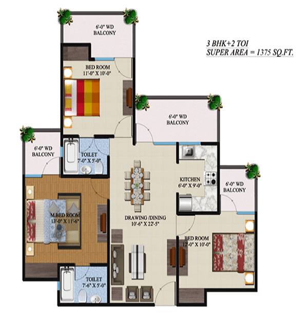 supertech-regina-tower-floor-plan-3bhk-2toilet-1375-sq-ft